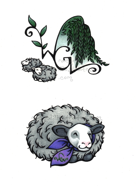 Willow Glen Farm logo work, ink and colored pencil