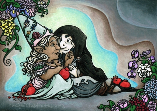 """""""Earth King and Queen,"""" colored pencil and ink"""