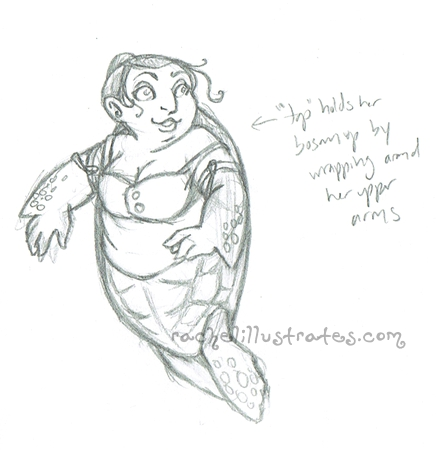 Sea turtle mermaid, first sketch
