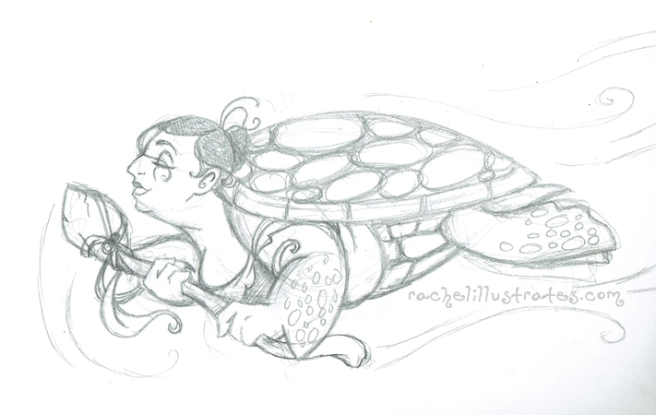 Sea turtle mermaid, second sketch