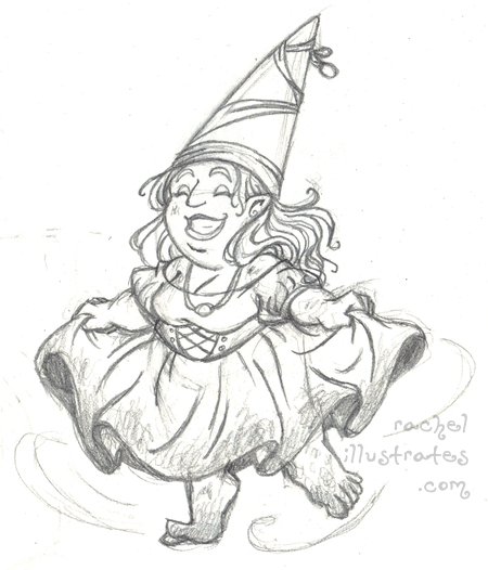 Sketch - Dancing Gnome Lady