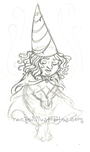 "Sketch, ""Gnomish Sorrow,"" pencil."