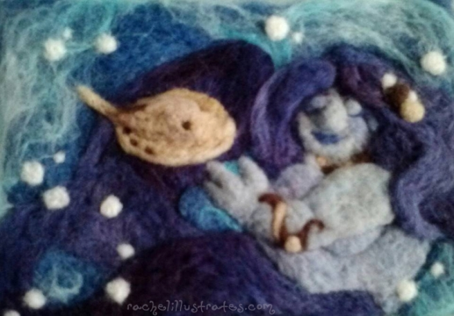Needlefelted Mermaid and ray