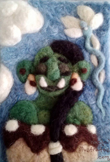 Needlefelted Orc maiden