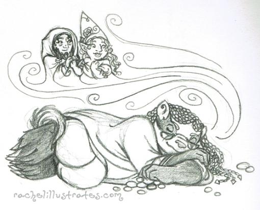 """""""Underworld Dreams,"""" pencil sketch"""