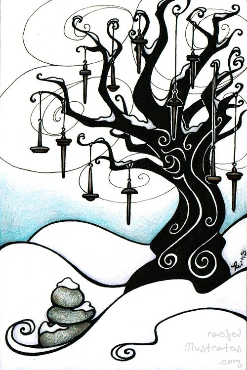 """The Spindle Tree,"" 4 by 6 inches, colored pencil and ink"