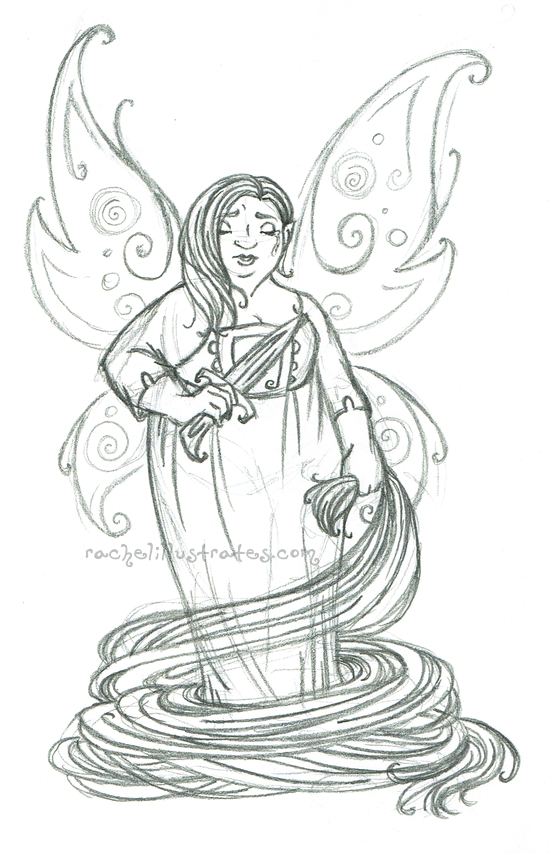 """Rapunzel Fae,"" pencil sketch"