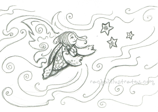 """Sea Turtle Faerie,"" pencil sketch"