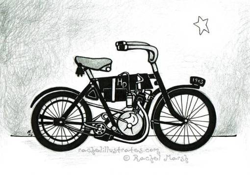 """""""Harley History,"""" graphite and ink, 5x7 inches"""