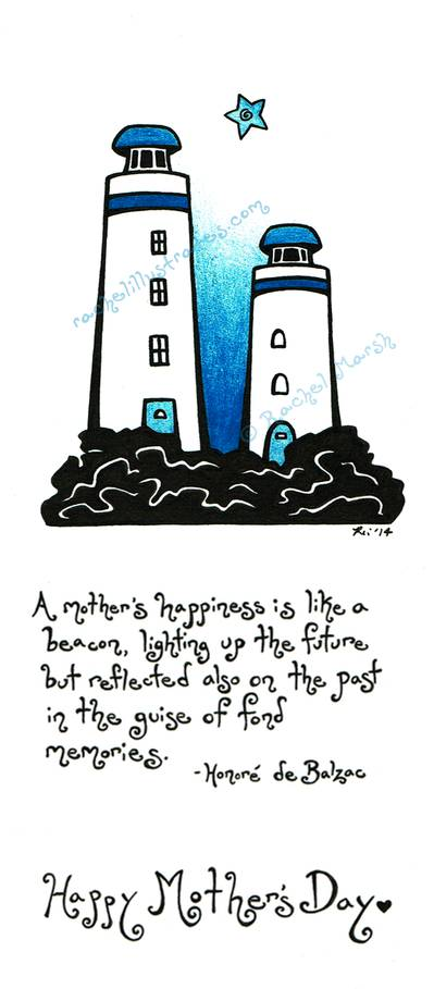 """Mom's Lighthouses,"" ink and colored pencil"