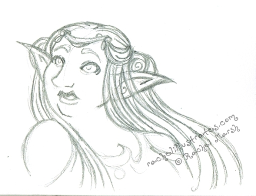 "Pencil sketch, ""Moon Elf,"" by Rachel Marsh"