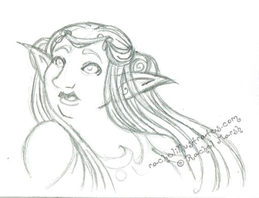 "Pencil sketch, ""Moon Elf,"" by Rachel Marsh"