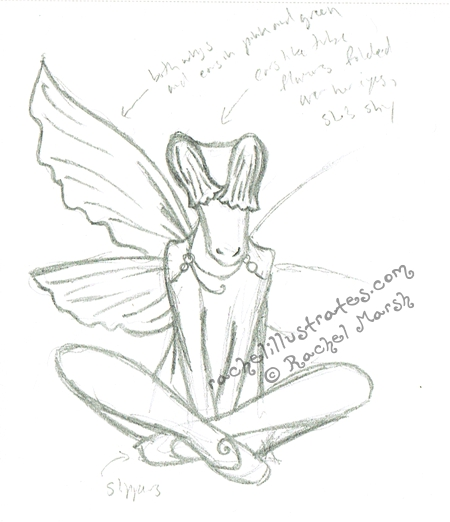 Pencil sketch, a shy Faerie