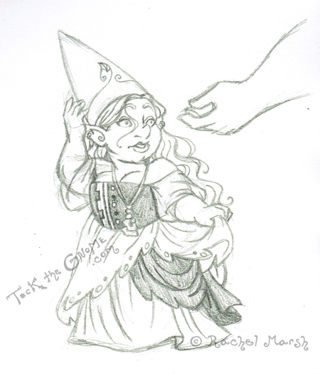 """Tock the Gnome"" dreamscape gown, pencil sketch"