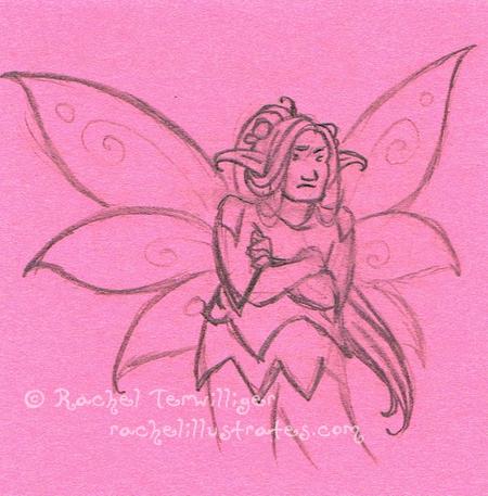 Fairy Datura, pencil sketch