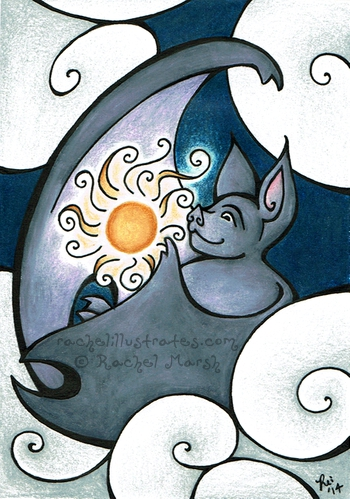 """The Bat Who Stole the Sun,"" colored pencil and ink"