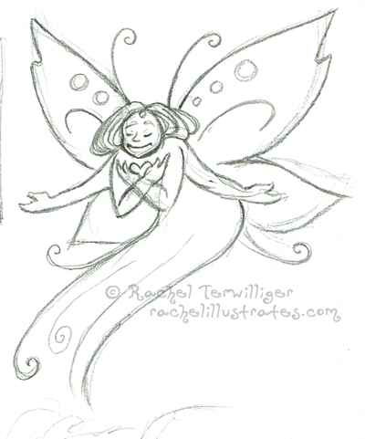 "Pencil sketch, ""Faerie Heart"""