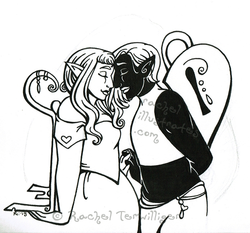 "WIP, ""Lock Around My Heart,"" ink drawking on paper"