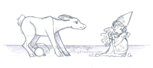 """Deer Encounter,"" pencil sketch"