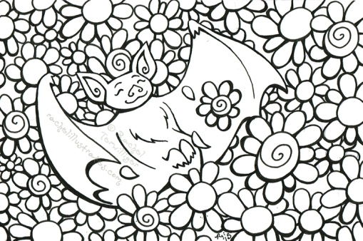 """Happy Bat in Flowers,"" ink drawing on paper"