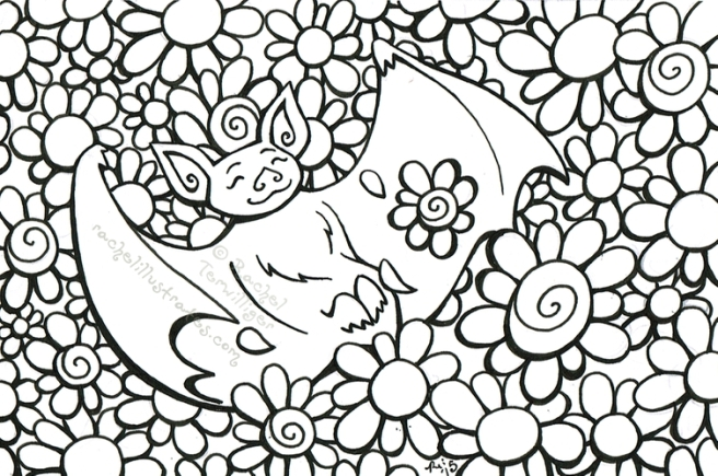 """""""Happy Bat in Flowers,"""" ink drawing on paper"""