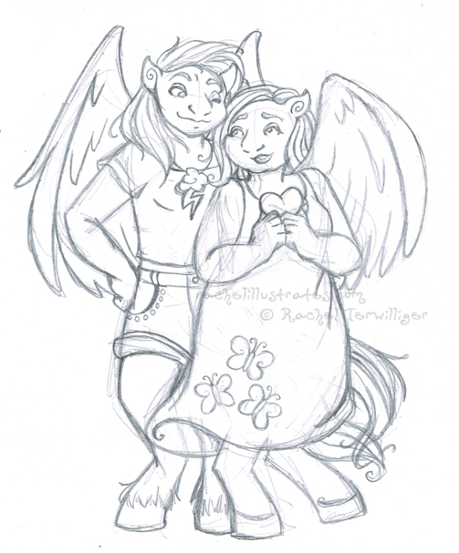 "Pencil sketch, ""Flutterdash"""