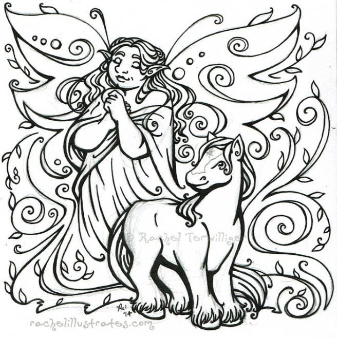 "Pencil sketch, ""Goddess Aine, Faerie Queen"""