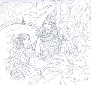 "Pencil work, ""Eurydice in Hades,"" personal piece"